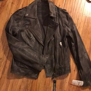 Blank NYC 100% leather distressed jacket